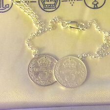 Sterling silver celebrity style double coin necklace