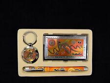 Australian Souvenir Business Gift Box Set Card Holder Pen Keyring Kangaroo