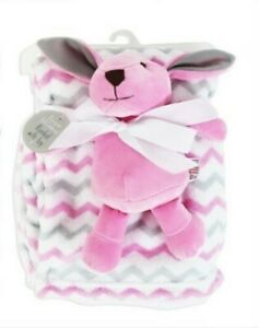 BABY  BLANKET WITH SOFT CUDDLY  RABBIT.
