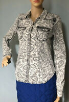 H&M Divided Womens Paisley Print Shirt UK Size 12 Black And Ivory Brand New Tags