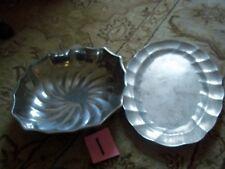 """2pcs Wilton Armetale Eddy Salad Bowl 11""""Dx3""""D & Oval Serving Platter 15""""Lx10""""D"""
