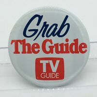 Vintage Advertising Grab the Guide TV GUIDE Red White Pin Button Pinback