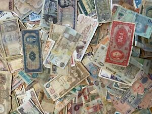 Lot of 500+ World banknotes, used,many exotic countries, suitable for collages