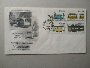 US. Early American Streetcars/Cable Car ArtCraft Block FDC 1983 Kennebunkport