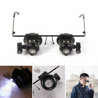 20X Glasses Type Binocular Magnifier Watch Repair Tool with Two LED Lights Wxz