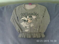 Girls 4-5 Years - Grey Long Sleeve Tunic Top with Disney Minnie Mouse Motif