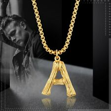 Men Women 26 Initial Letter Gold Chain Necklace A-Z Pendant Stainless Steel