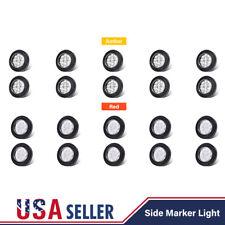 "20 Amber+Red 2"" Round 9 LED Side Marker Light Truck Trailer w/Grommet Clear Lens"