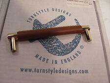 "ws TURNSTYLE DESIGNS 5 "" GOLD PLATED BRASS PULL LIFT WITH STITCHED LEATHER"