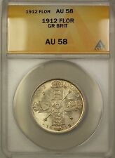 1912 Great Britain Silver Florin Coin ANACS AU-58