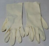 Vintage Ivory Fabric Matinee Length Gloves Size Small