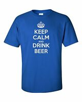 KEEP CALM  DRINK BEER funny mens t shirt party pub bbq birthday gift