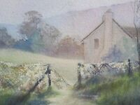 Antique Vintage Watercolour Countryside Cottage Field Landscape Original Art