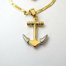 MEN'S WOMEN'S NECKLACE CHAIN ​​21.26 IN.  C. GOLD SILVER ANCHOR PENDANT -  4 H