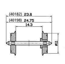 Roco 40198 Radsatz 11mm einseitig isoliert 2x
