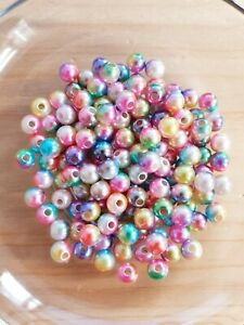 100 x Regenbogen Acrylperlen zum Basteln/Schmuckherstellung ♥ Beads Rund Ø 6mm