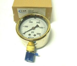"Pressure Gauge 2-1/2"" Face Brass Case 0-5000 PSI 1/4"" NPT Lower Filled < T0012"