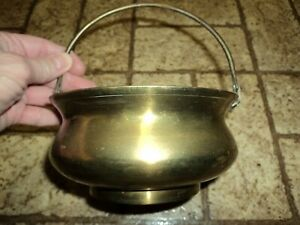 Vintage Small Brass Pot w/ Handle. India.