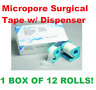 3M Micropore Surgical Tape w/ Dispenser, 1 Inch X 10 Yards, 1535-1, BOX OF 12