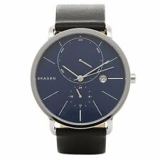 NWT Skagen Men's SKW6241 'Hagen' Multi-Function Black Blue Leather Watch