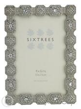 Sixtrees Sarah Vintage Shabby Chic Silver Photo Frame With Beads & Crystals 6x4