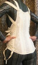 Vintage Camp Brocade waist cincher SteamPunK Corset Fan Lacing High Back Garters