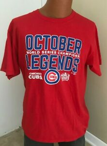 NWOT Chicago Cubs 2016 World Series Champions October Legends Red T Shirt  Sz M