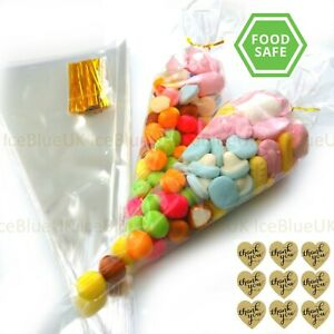 Clear Cellophane Sweet Cone Bags LARGE 37*18cm Birthday Party Wedding Favours