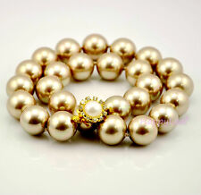"""15-16mm Large Top white black golden South Sea SHELL Pearl Strand Necklace 18"""""""
