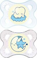 MAM Night Glow in the Dark Soothers Suitable 0 months + with Sterilisable Travel