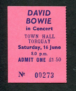 1973 David Bowie Concert Ticket Stub Aladdin Sane Tour Torquay UK The Jean Genie