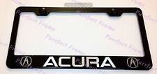 """ACURA"" LASER Style Black Stainless Steel License Plate Frame W/ Bolt Caps"