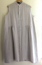 NEW Eskandar - Sz 0- Natural Linen Lux French Gathered Tunic Smock Dress