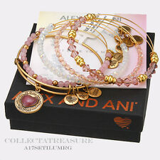 Authentic Alex and Ani I Love you Mom Set of 5 Rafaelian Gold Charm Bangle