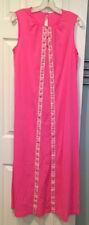 Vtg Lorraine Hot Pink 100% Nylon Long Gown Nightgown Sz S Metallic Floral Detail