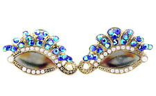 Gold tone movable eye stud earrings with crystal and pearl