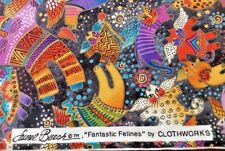 LAUREL BURCH Quilt Sew Fabric Fantastic Felines Kitty Cat Angel Wings Stars BTY