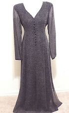 Vtg DANA BUCHMAN Sz 12 Long Sheer 100% Silk Chiffon Dress Black/ White Polka-Dot