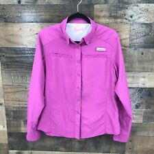 Habit Women's Purple Long Sleeve Button Up Fishing Shirt Size Large
