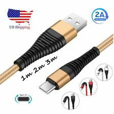 US 1~3M Braided Type C Fast Charging Cable USB-C Rapid Cord Power Charger Charge