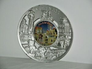 Metal Wall Plaque Ho Chi Minh Vietnam Raised Relief Around Rim Picture in Centre