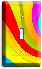 Colorful Swirly Rainbow Single Light Switch Wall Plate Bedroom Room Home Decor