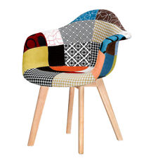 New Dining Chair Patchwork Tub Tulip Vintage Fabric Retro Padded Seat Armchair