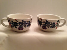 Eddie Bauer Coffee Cups Harvest Blue Home Collection Flowers Fruit Discontinued