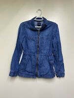Gap Factory Medium Wash Full Zip Denim Jacket Cinch Waist Ladies XS Pockets Coll