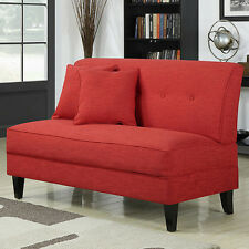 Armless Loveseat Cherry Red Settee Living Room Wood Sofa Bench Chair Sitting Tuf