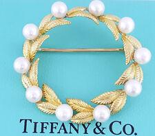 Tiffany & Co Rare Vintage 18K Yellow Gold Akoya Pearl Full Circle Brooch Pin