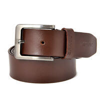 Men's Genuine Leather Jeans Formal Premium Classic Chrome Buckle Brown Belt