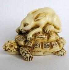 MPS Harmony Kingdom - QTs - Small Tortoise & Hare Figurine - Inspired by Netsuke