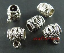 150pcs Tibet Silver Flower Design Tube Bails 10x8.5mm 16-1